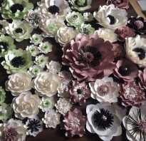 Украшение зала цветами из бумаги