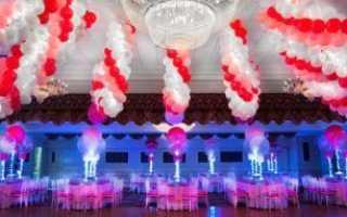Как украсить свадебный зал шарами